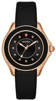 Michele Cape Black Silicone Strap Watch with Pink Topaz Dial Markers, Rose Golden