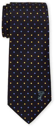 Versace Blue Silk Multi Color Diamond Pattern Tie
