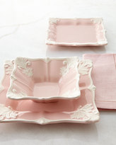 Horchow 12-Piece Pink Square Baroque Dinnerware Service