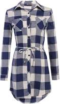 HOTOUCH Women Casual Long Sleeve Button Down Plaid Shirt Checker Blouse with Belt
