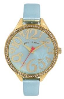 Betsey Johnson Women's Reflective Lens Metallic Blue Polyurethane Strap Bracelet Watch 42mm