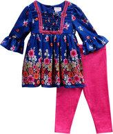 Sweet Heart Rose Blue & Pink Floral A-Line Dress & Leggings - Toddler