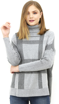 Minnie Rose Plaid Turtleneck Tunic in Black Combo
