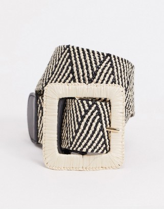 Pieces corina waist belt in black and natural weave
