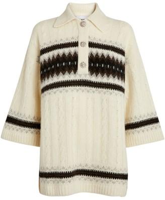 Ganni Alpaca-Blend Oversized Shirt