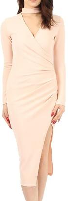 Re Tech UK Womens Ladies Choker Wrap Over Asymmetric Long Sleeve Bodycon Pencil Dress Party Khaki