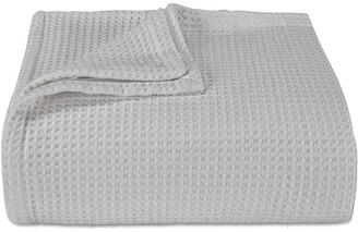 Vera Wang Waffleweave Open Grey Blanket