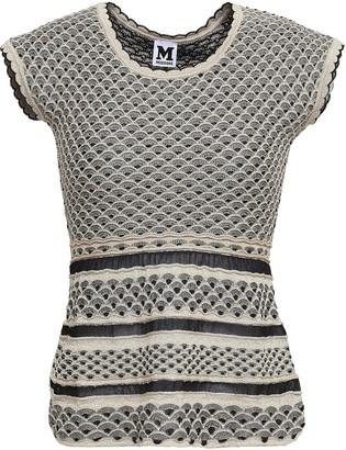 M Missoni Metallic Crochet-knit Peplum Top