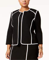 Kasper Plus Sized Piped Flyaway Blazer