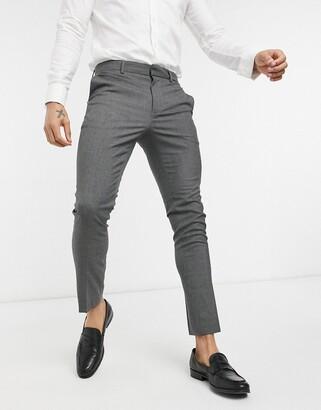 New Look skinny suit pant in dark grey