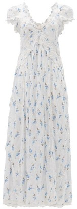 LoveShackFancy Archer Cotton Broderie Anglaise Midi Dress - White Multi
