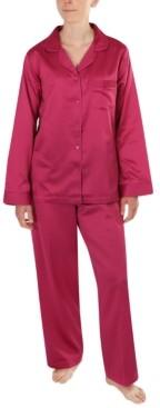 Miss Elaine Petite Satin Dobby Pajama Set
