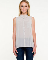 Le Château Chiffon Sleeveless Button-front Blouse