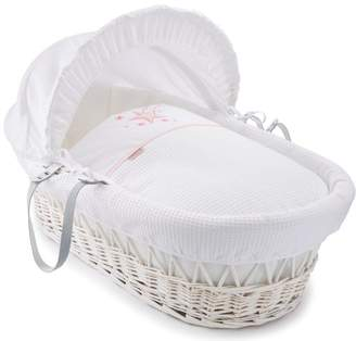 Clair De Lune Stardust White Wicker Moses Basket inc. Bedding, Mattress & Adjustable Hood