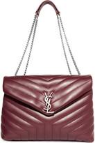 Saint Laurent Slouchy Monogramme Medium Quilted Leather Shoulder Bag - Burgundy