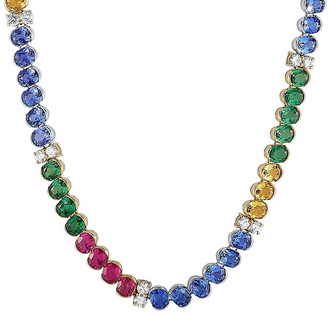 Heritage 18K 30.75 Ct. Tw. Diamond & Citrine & Tanzanite Necklace