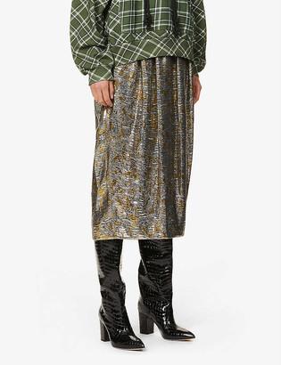 Dries Van Noten Metallic abstract-pattern high-rise silk-blend midi skirt