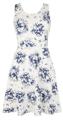 Dorothy Perkins Womens Navy Tie Dye Print Strappy Wrap Fit And Flare Dress
