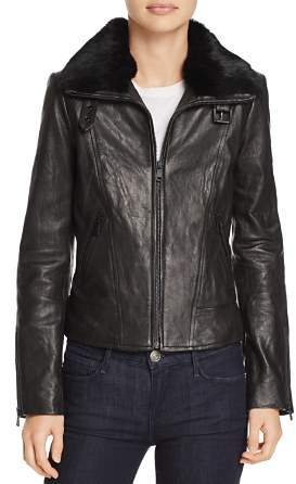 Andrew Marc Cambridge Fur Trim Leather Jacket