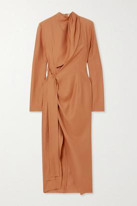 ALEKSANDRE AKHALKATSISHVILI Draped Crepe Wrap-effect Dress - Orange