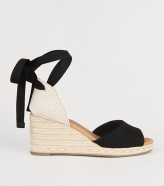 New Look Ankle Tie Peep Toe Espadrille Wedges