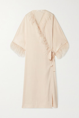 LOVE Stories Feather-trimmed Washed-satin Robe - Cream