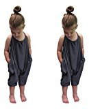 Fheaven Baby Girls Summer Strap Halter Sleeveless Blackless Jumpsuit Harem Pants Trousers Clothes (6T)