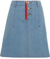 House of Holland + Lee Appliquéd Denim Mini Skirt