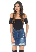 AX Paris Denim Ripped Mini Skirt