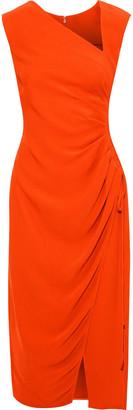 Oscar de la Renta Ruched Crepe Midi Dress