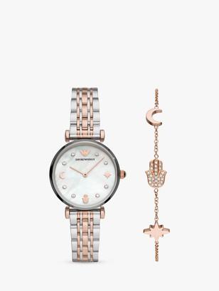 Emporio Armani AR80037 Women's Bracelet Strap Watch and Hamsa Hand Chain Bracelet Set, Silver/Rose Gold