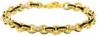 BUDDHA MAMA 20kt Yellow Gold, Black Enamel And Pave Diamond Link Bracelet
