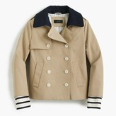J.Crew Cropped trench with detachable striped cuffs