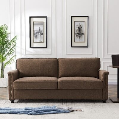 """Thumbnail for your product : Alcott Hill 75.6"""" X 31.5"""" X 33.1""""H 3P_-Seater Gray Sofa Stress-Free Fabrics Were Chosen To Be Durable And Easy-To-Clean Fabric: Brown Li"""