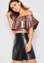 Missy Empire Imogen Pink Metallic Ruffle Bardot Crop Top