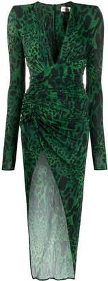 Alexandre Vauthier animal print plunge neck dress