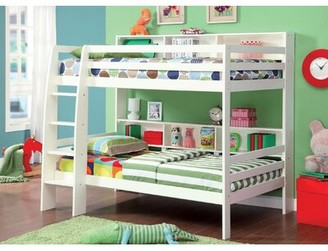 Hokku Designs Twin Over Twin Bunk Bed with Shelves Color: White