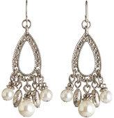 Carol Dauplaise Silver-Tone Tear Drop Faux Pearl Earrings