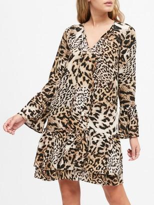 Banana Republic Petite Leopard Print Drop-Waist Dress