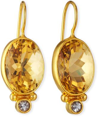 Dina Mackney Citrine Oval Drop Earrings