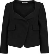 Carven Cropped stretch cotton-blend bouclé-tweed jacket
