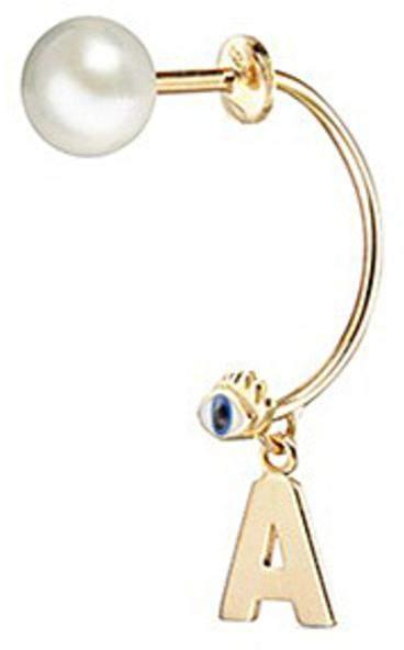 Delfina Delettrez 'ABC Micro Eye Piercing' freshwater pearl 18k yellow gold single earring - A