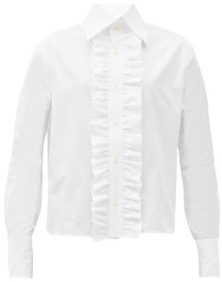 Saint Laurent Ruffled-placket Poplin Shirt - White