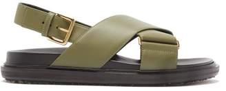 Marni Fussbett Leather Sandals - Womens - Khaki White
