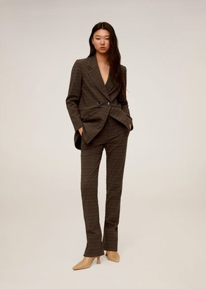 MANGO Check suit blazer brown - S - Women