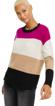 Charter Club Colorblocked Cashmere Pullover Sweater, Created for Macy's