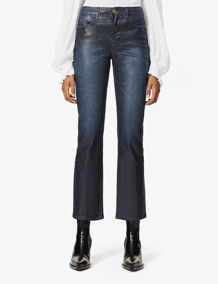 Frame Le High Straight coated high-rise stretch-denim jeans