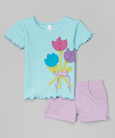Mulberribush Caribbean Blue Tulip Tee & Lilac Shorts - Toddler & Girls
