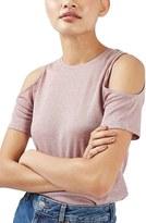 Topshop Women's Metallic Cold Shoulder Top