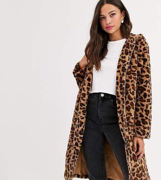 Daisy Street longline coat with zip front and hood in leopard print faux fur